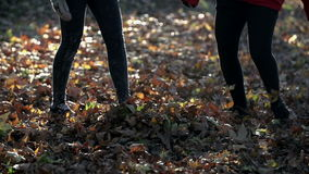 Kicking the leaves from the floor all around shot in slo-mo stock video footage