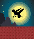 Kicking into the moonlight. Illustration of kicking child over moon Royalty Free Stock Images