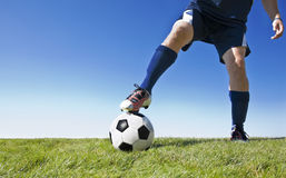 Kicking the soccer ball - Horizontal royalty free stock image