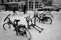 Kicksled & Bicycles in snow. Bodø, Norway Stock Photography