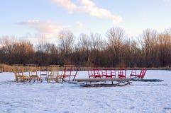 Kicksleds on Farm Pond Royalty Free Stock Photo
