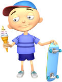 Kid. With ice-cream and skateboard on a white background Stock Photo