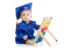 Kid with abacus toy. Concept of early learning Stock Photos