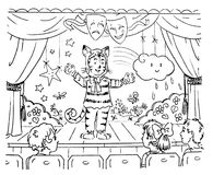 Kid actor on stage cartoon illustration. Graphic illustration of a kid performing on a stage Stock Image