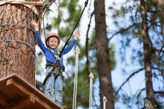 Kid at adventure park Stock Photo