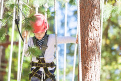 Kid at adventure park. Positive little boy climbing at outdoor treetop adventure park being active and healthy Stock Photography