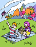 Kid Adventures: Fall Picnic with Friend. Young child and his friend are having a picnic on a hill watching the leaves turn color during the fall season Stock Photo