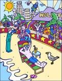 Kid Adventures: Sun Bathing at the Beach Stock Photo