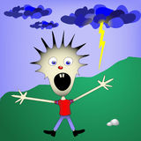 Kid afraid of the lightning and storm stock illustration
