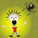 Kid afraid of spider Stock Images