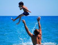 Father and son at beach Royalty Free Stock Photography