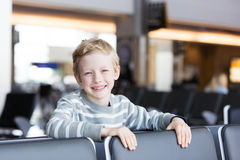 Kid at airport Royalty Free Stock Image