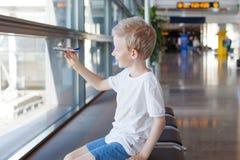 Kid at airport Royalty Free Stock Photos