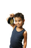 Kid with alarm clock Royalty Free Stock Images