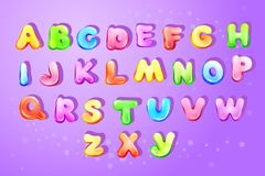 Kid alphabet bubble cartoon type letter set. Colorful kids english alphabet, children font template Preschool, kindergarten game typography latin text design royalty free illustration