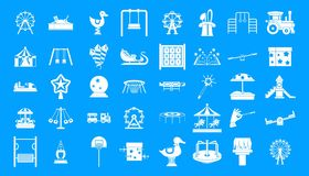 Kid amusement icon blue set vector. Kid amusement icon set. Simple set of kid amusement vector icons for web design isolated on blue background Royalty Free Stock Photos