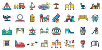 Kid amusement icon set, cartoon style. Kid amusement icon set. Cartoon set of kid amusement vector icons for web design isolated on white background Stock Photos