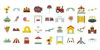 Kid amusement icon set, flat style. Kid amusement icon set. Flat set of kid amusement vector icons for web design isolated on white background Royalty Free Stock Photos