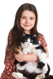 Kid And Fluffy Cat Royalty Free Stock Images