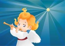 Kid Angel Musician Flutis, Flautist Flying On A Night Sky Royalty Free Stock Photos
