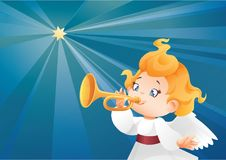 Kid angel musician  flying on a night sky, making fanfare call. Christmas background design with fanfareist angel musician. Happy smiling cute cartoon kid play Royalty Free Stock Image