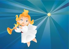 Kid angel musician  flying on a night sky, making fanfare call. Christmas background design with fanfareist angel musician. Happy smiling cute cartoon kid play Stock Photo