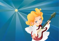Kid angel musician guitarist flying on a night sky making music on guitar. Christmas background design with guitarist angel musician. Happy smiling cute cartoon Stock Images