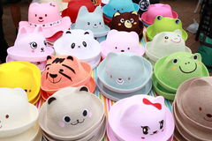 Kid Animal Hat. Colourful Kid Animal Hat selling in the market Stock Photography