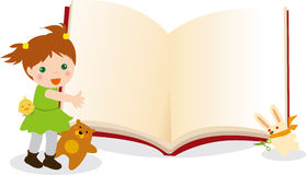 Kid and animals  book. Illustration of Kid and animals  book frame Royalty Free Stock Photography