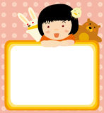 Kid and animals frame. Illustration of Happy childdren and animals frame Stock Photography
