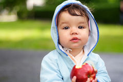 Kid with apple. Portrait of the beautiful child holding an apple Royalty Free Stock Photography