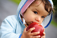 Kid with apple. Portrait of the beautiful child holding an apple Stock Photo