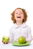 Kid with apples Royalty Free Stock Photography