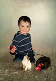 The kid and apples and cat Royalty Free Stock Image