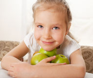 Kid with apples Royalty Free Stock Photos