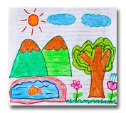 Kid Art. The kid did drawing on the white paper royalty free illustration