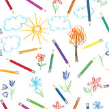 Kid art work pattern. Colorful pencils drawing  pattern. Seamles. S texture with multicolored pencils. Abstract sketched background Royalty Free Stock Images