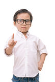 Kid asia boy showing the number one stock photography
