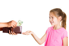 Kid asking for money Royalty Free Stock Photos