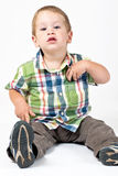 Kid with attitude. Posing in a studio stock photography