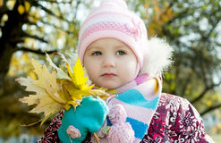 Kid in autumn Stock Photography