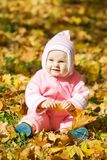 Kid  in autumn leaves Stock Image