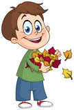 Kid with autumn leaves Royalty Free Stock Photography
