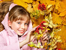 Kid in autumn orange leaves. Stock Photos