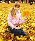 Kid in autumn orange leaves. Royalty Free Stock Photo