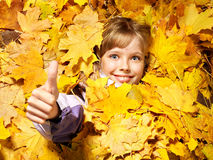 Kid in autumn orange leaves. Royalty Free Stock Photography