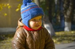 Kid in the autumn park royalty free stock photos