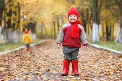 Kid in autumn park Stock Photo