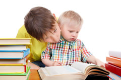 Kid and Baby Boy with the Books Royalty Free Stock Photography