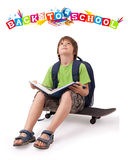 Kid with back to school theme isolated on white. Kid with skateboard and books with back to school theme isolated on white Stock Images